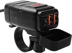 GARNECK Motorfiets Telefoon Oplader Usb Adapter Motorfiets Voltmeter Voertuig Gemonteerde Snelle Qc3. 0 Dual Usb Smart Sne...