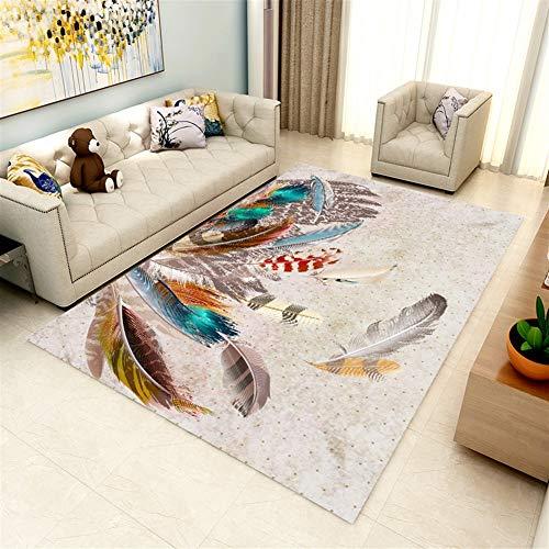 Ommda Tapis Salon Design Moderne Asiatique Anti Derapant avec 3D Impression  Fleur Coloré 7mm 200x300cm
