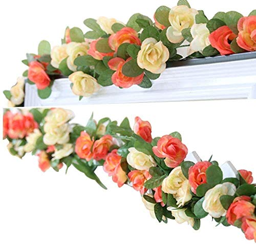 QAZX Artificial Plant, 2 Pieces 2.5M Artificial Garland for Hanging Rose Rattan Flower Wisteria Silk Garland Hanging for Home Wedding Garden Christmas Birthday Party Decoration SEAno1