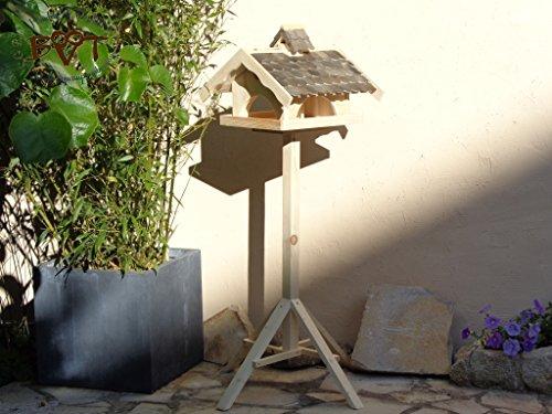 Vogelhaus,groß,mit Nistkasten,BEL-X-VONI5-at002 Großes wetterfestes PREMIUM Vogelhaus VOGELFUTTERHAUS + Nistkasten 100% KOMBI MIT NISTHILFE für Vögel WETTERFEST, QUALITÄTS-SCHREINERARBEIT-aus 100% Vollholz, Holz Futterhaus für Vögel, MIT FUTTERSCHACHT Futtervorrat, Vogelfutter-Station Farbe schwarz lasiert, anthrazit Schwarzlasur / Holz natur, MIT TIEFEM WETTERSCHUTZ-DACH für trockenes Futter - 3