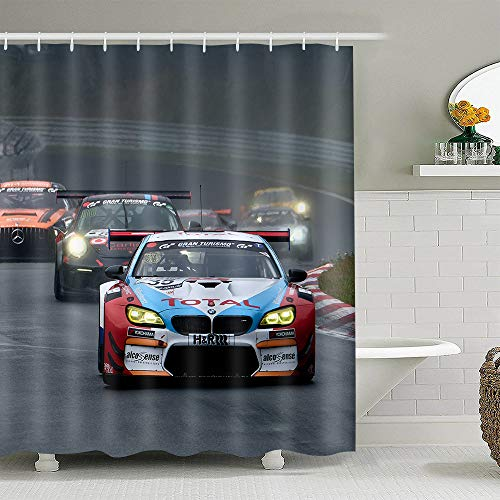 EARVO Cool Racing Car Shower Curtain, Speedway Racetrack Competition Theme Bath Curtain, Bath Sets with Hooks 72x72 inches Waterproof Polyester for Sport Lovers EADS851-72