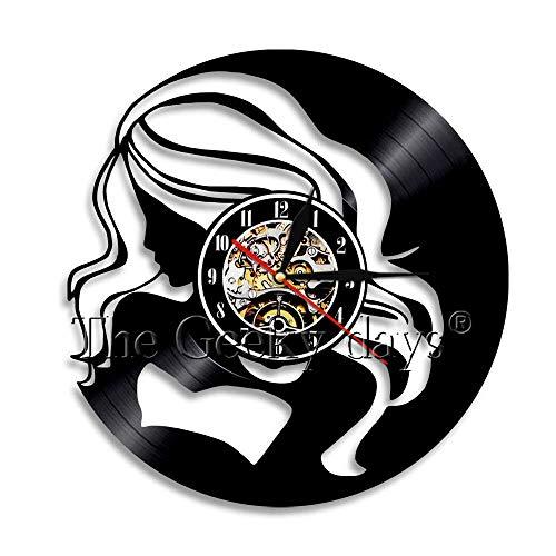 FDGFDG Schöne Dame Art Deco Wanduhr schönes Mädchen Vinyl Rekordzeit Uhr modernes Design Schönheitssalon Wandkunst Dekoration
