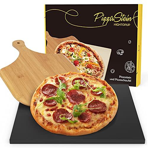 Hightopup Pizzastein für Backofen, Grill & Gasgrill | Pizzastein Set mit Beschichtung aus glasiertem Cordierit, 38 x 30 cm rechteckiger Pizzastein mit Holz Pizzaschieber, als Brotbackstein geeignet