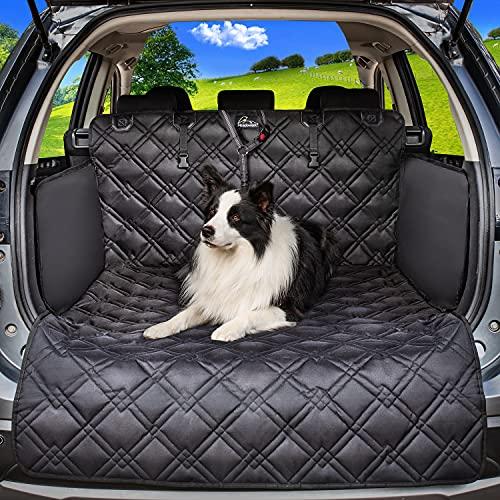 Meadowlark® Kofferraumschutz für Hunde - Wasserdicht! Kofferraum Hundedecke für Auto, Kombi, Van & SUV, Kofferraumdecke für den Hund mit Stosstangenschutz, extra stark gepolstert! mit Anschnallgurt