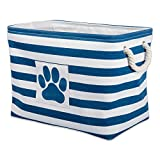 Bone Dry Stripes with Paw Patch Collapsible Polyester Pet Storage Bin, Rectangle Medium-16 x 10 x 12, Navy