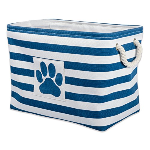 """DII Bone Dry Large Rectangle Pet Toy and Accessory Storage Bin, 17.75x12x15"""", Collapsible Organizer Storage Basket for Home Décor, Pet Toy, Blankets, Leashes and Food-Navy Stripes"""