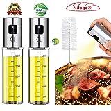 Nifogo Dispenser per Spruzzatore di Olio,Bottiglia d'olio Portatile,Bottiglie di Vetro per Olio e aceto,per Spruzzatore di Olio d'oliva per Cucinare, BBQ, Cucina, Insalata(100ml)
