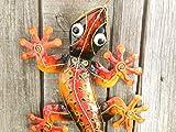 Trendshop-online Gecko Eidechse Salamander Echse Wanddeko Metall Bunt 60 cm Gartendeko Blechfigur Geko Gartenfigur Tier