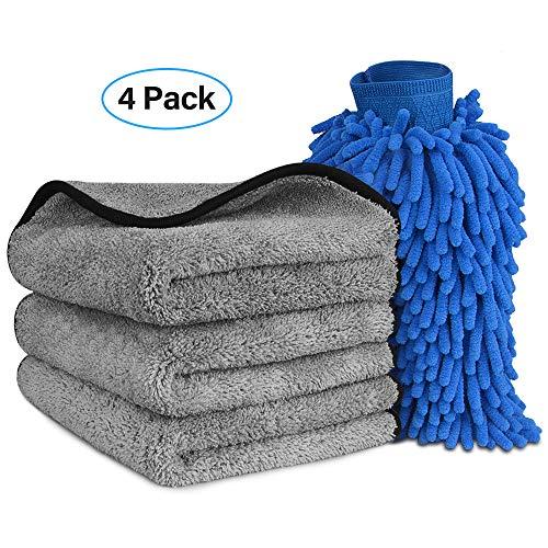Microfiber Car Wash Towels Mitt Kit - Super Absorbent Microfiber Cleaning Towels Lint Free, Premium Professional Soft Microfiber Towels and Wash Mitt for Car/Windows/Screen/Tire (3 Towels + 1 Mitt)