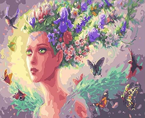 Malowanie według liczb_Śliczna dziewczyna z kwiatami_obraz na płótnie dla dorosłych i dzieci, szczotkami i farbami akrylowymi_prezent_30x50cm_Ramka do majsterkowania