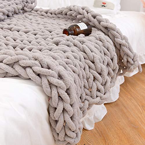 Intimate——Blanket Wolldecke Hand Gewebt Grob Gestrickte Plaid Schlafsofa Bettwäsche Handgefertigte Weiche Warme Bettwäsche Camping Business Wahl,LightGray-150 * 200CM