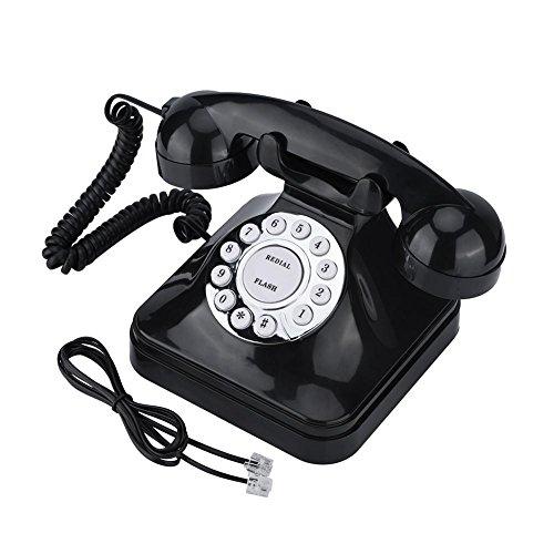 Delaman Teléfono Fijo WX-3011 Vintage Negro Multifunción Teléfono Residencial de Plástico Cable Retro Teléfono Fijo
