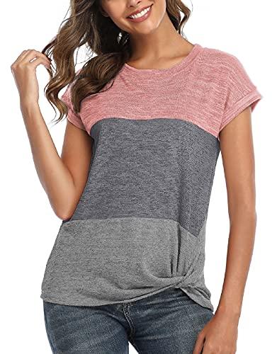 TOMEEK T-Shirt a Manica Corta Donna Shirt Camicette Top a Tunica Color Block in Patchwork Girocollo Camicetta Casual arino Donna Camicia Estiva(Rosa,XL)