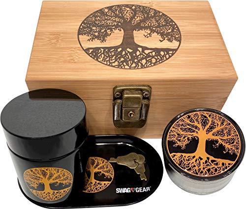 swagstr Combo Stash Box mit 6,3cm Titan Mahlwerk und passende schwarz UV Glas–W/Geschenk-Box Full Size Grinder and UV Jar Tree of Life