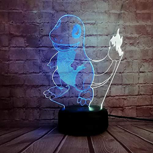 KINGBENG Personnage de dessin animé pour animaux de compagnie Charmander couleur mélangée veilleuse décoration de table garçon cadeau enfant jouet petit dragon de feu 16 couleurs Veilleuse 3D Illumina
