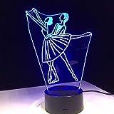 QAZEDC Veilleuse 3D Danse de ballet dames et monsieur design acrylique 3d lampe LED...