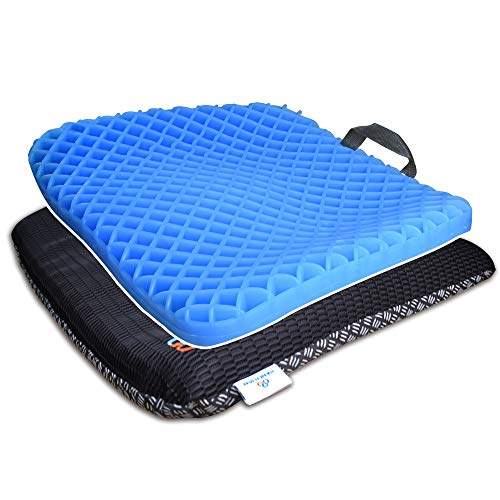 HANCHUAN Gel Seat Cushion Coccyx Seat Support All Gel Cushion Air Circulation and Advanced Elastic Comfort Gel Sitter Cushion Ergonomic Designed for Office Chair, Car Seat and Wheelchair