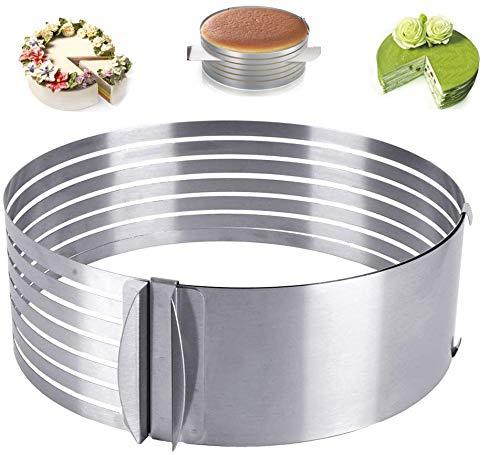 HUYIWEI Edelstahl Tortenring Multilayer Tortenschneider mit verstellbarem Mousse Ring (Ø24-30cm)
