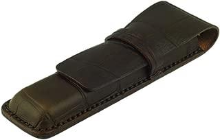 Leather Double Pen Case, Crocodile Grain Leather, Dark Brown, Handmade