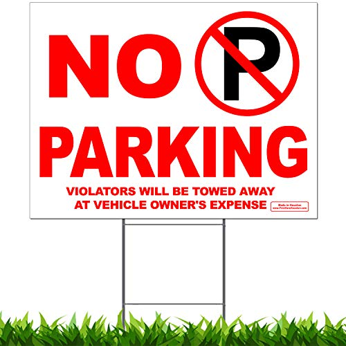 VIBE INK No Parking Anytime Yard Sign Violators Will Be Towed Away at Vehicle's Owner Expense Lawn Sign 24
