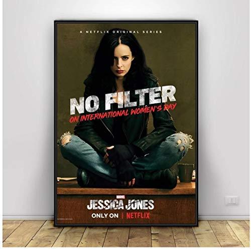Jessica Jones Art Poster Print Canvas Wall Art Art Art Wall Art para sala de estar Decoración Regalo -60x80cm Frameless