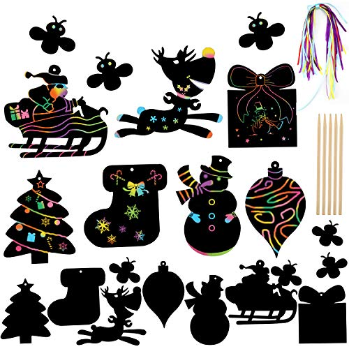 HOWAF 55 Scratch Art para niños, Navidad decoración Colgando árbol de Navidad Manualidades, Navidad Fiesta de Regalo, con lápiz de Madera, Cinta para Colgar