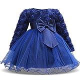 TTYAOVO Bébés Filles à Manches Longues en Dentelle 3D Fleur Princesse Robes de Fête d'anniversaire Robe de Tutu 0-6 Mois Bleu Profond