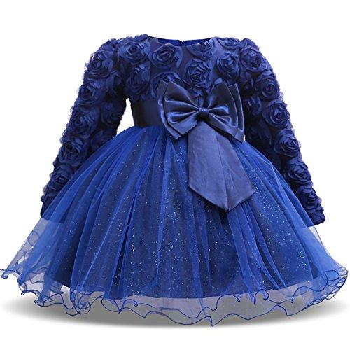 NNJXD Vestido de Fiesta de Princesa con Encaje de Flor de 3D sin Mangas para Niñas Talla(150) 6-7 Años Azul