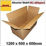 1 Stück Faltkarton 1200x600x600 mm Umzugskartons 2-wellig BC-Welle, 660g/m2 stabil Versandschachtel...