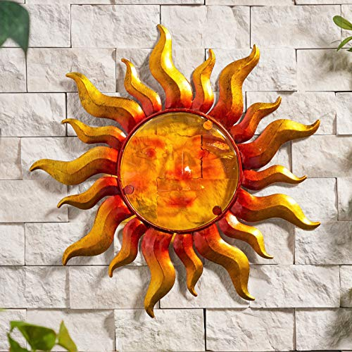 Creekwood Sun Glass/Metal Garden Wall Art Decoration, Yellow/Orange, (W33 x H33 cm)