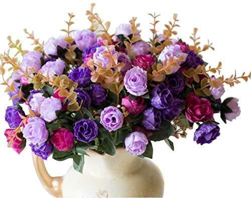 Ramo de Rosas Artificiales de Seda de LumenTY Ideal para Bodas fiestas Cocinas y Decoración del Hogar Cada Pack Tiene 7 Ramas con 21 flores Falsas