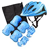 Adjustable Protective Helmet Kids Protective Gear Knee Elbow Pads Wrist Guard Outdoor Sports Safety Bike Scooters Skateboards (Blue)