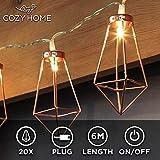 CozyHome Kupfer geometrische LED Lichterkette – 6 Meter | Mit Netzstecker NICHT batterie-betrieben...