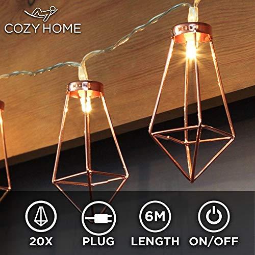 CozyHome Kupfer geometrische LED Lichterkette – 6 Meter | Mit Netzstecker NICHT batterie-betrieben | 20 LEDs warm-weiß | rose gold pyramidenform - kein austauschen der Batterien | Rosegold Deko