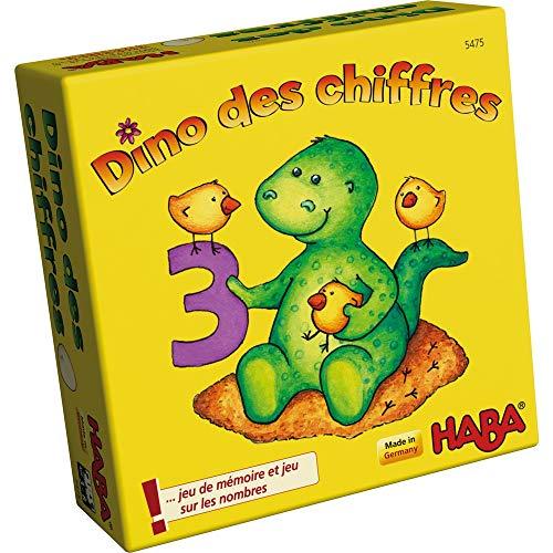 HABA 5475 - Dino des Chiffres - Un jeu de poche de chiffres et de mémoire pour les 3 ans et plus (Fabriqué en Allemagne)