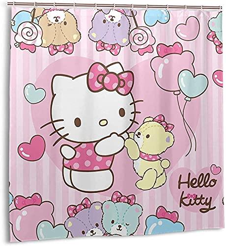 Hello Kitty Little Bear Duschvorhang Badezimmer Dekor Exquisite Schimmelresistent Wasserdicht Extra Lang Badvorhang mit 12 Kunststoffhaken