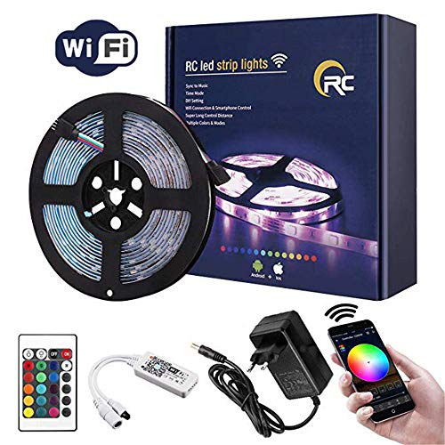 Led Strip Lights RC 16.4ft 5050 RGB mit WIFI Kontroller LED Streifen Millionen Farben Smart Light APP-gesteuertes Flexible Strips Arbeiten Sie mit Android,IOS,Alexa,Siri,IFTTT