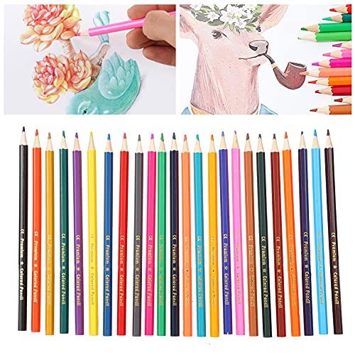 Lápices de colores, pigmentos de alto rendimiento, 24 lápices para colorear para regalo para artistas de bosquejo, libros para colorear para adultos