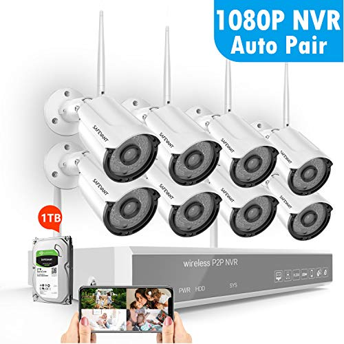 1080P Security Camera System Wireless with 1TB Hard Drive,SAFEVANT 8 Channel Home Security Systems 8PCS 960P Outdoor Indoor Surveillance Cameras with Night Vision Motion Detection