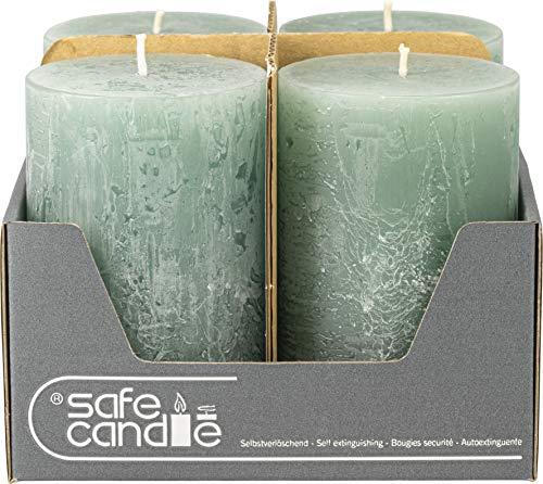safe candle Rustic Kerze selbstverlöschend, Höhe 11 cm/Ø 7 cm, 36 Std. Brenndauer (Smaragd)