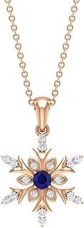Rosec Jewels - Colgante de diamante y zafiro azul de 1/3 quilates, collar de copo de nieve azul, colgante solitario de zaf...