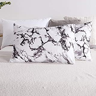 Carisder Floral Pillowcases 2 Packs, Stardard Size 100% Brushed Microfiber Ultra Soft Pillow Lightweight Covers Envelope Closure End (Twin/Queen, Marble)