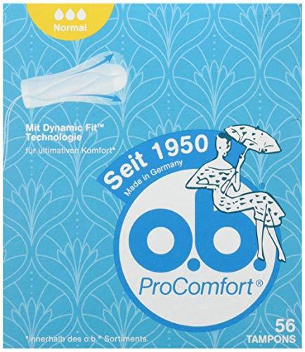 o.b. ProComfort Normal Tampons für mittlere bis starke Tage mit Dynamic Fit Technologie und einzigartigen SilkTouch Schutzflügeln (1 x 56 Stück)