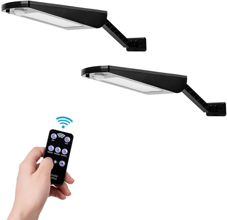 VOVOVO Solarleuchte Auen 66 LED, 900lm IP65 Wasserdicht Auenleuchte mit Justierbarer Winkel-Klammer, 120° Infrarot Bewegungssensor Solarlampe für Garten 5000mAh