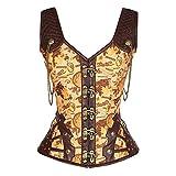 ZORLYN Damen Korsett mit Brokatmuster Mittelalter Gothic Steampunk Stil Kleidung Damen mit Jacke und...