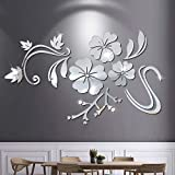 Acrylic Silver Flowers Wall Stickers, 3D Mirror Modern Acrylic Wall Stickers Living Room Bedroom TV Wall Decals Marriage Room Decorated Dining Room Home Decoration Removable