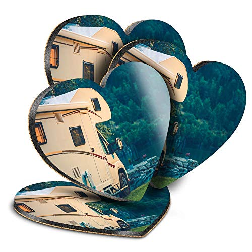 Destination Vinyl ltd Great Posavasos (juego de 4) Corazón – Camper Van Autohome Camping Bebér Posavasos brillante / protección de mesa para cualquier tipo de mesa #16466