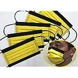 【日本製】国産3層構造不織布カラーマスク イエロー(黄)✕ ブラック(黒)5枚入