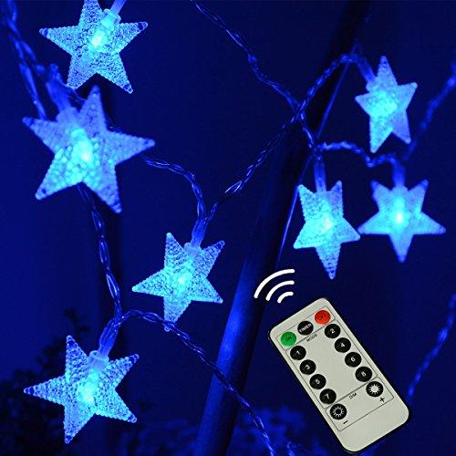 LAMPDREAM Abkshine 25ft 50 LED Battery Powered Blue Star String Lights, Waterproof LED Christmas Star Lights for Christmas, Bedroom, Wedding, Halloween, Party, Blue