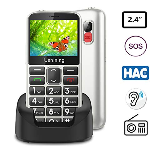 Ushining Unlocked Senior Cell Phone 3G T Mobile Feature Phone Large Button Hearing Aids Compatible Easy-to-Use Basic Phone for The Elderly with Charging Dock(White)